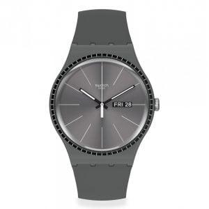 Reloj Swatch gris indices blancos grey rails suom709