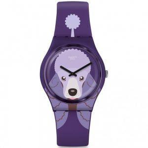 Reloj Swatch morado perro purple poodle GV133