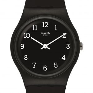 Reloj Swatch negro numeros blancos BLACKWAY GB301