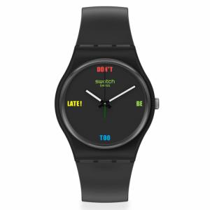 Reloj Swatch negro indices letra color DB2L SO28B102