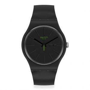 Reloj Swatch negro indices verdes NEUZEIT SO29B700