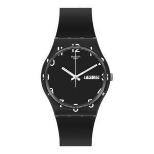 Reloj Swatch negro numeros blancos overblack GB757