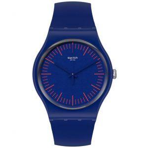 Reloj Swatch nuenred azul indices en rojo SUON146