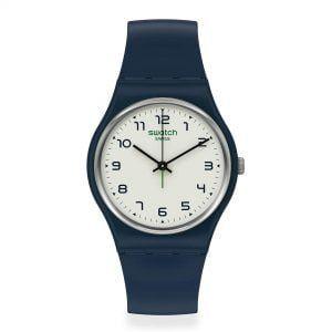 Reloj Swatch oscuro esfera blanca SIGAN SO28N101