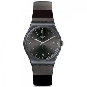 Reloj Swatch rayas negras y grises blackeralda GB430