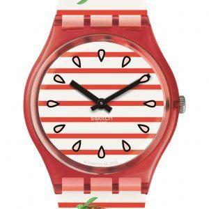 Reloj Swatch rayas rojas y blancas con fresas TOILE FRAISEE gr177