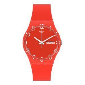 Reloj Swatch rojo anaranjado numeros blancos Over Red GR713