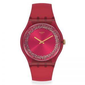 Reloj Swatch rojo con esfera purpurina plata Ruby Rings SUOP111