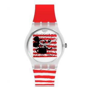 Reloj Swatch rojo rayas blancas Keith Haring Mickey Mouse Disney Mariniere GZ352