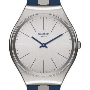 Reloj Swatch skin Irony Skinspring correa rayas azules y blanca syxs107