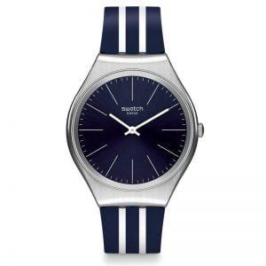 Reloj Swatch skin Irony correa rayas azules y blancas SYXS106