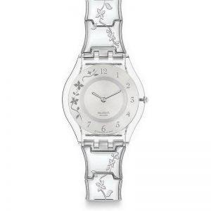 Reloj Swatch skin plateado flores CLIMBER FLOWERY sfk300g