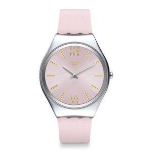 Reloj Swatch skin rosa numeros dorados SYXS124