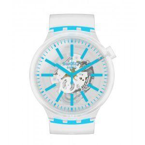 Reloj Swatch transparente y turquesa BLUEINJELLY SO27E105