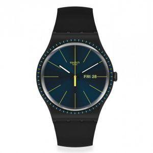 Reloj swatch esfera azul indices amarillos black rails suob731