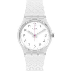 Relok swatch blanco segundero fucsia whitenel ge286