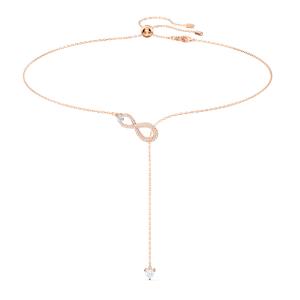 Swarovski collar infinity rosado con cristales blancos baño tono oro rosa 5521346