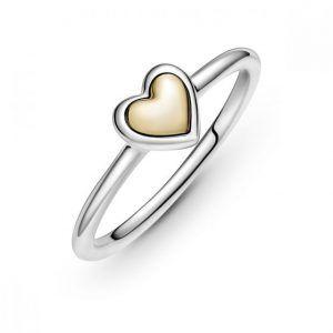Anillo Pandora plata corazon con corazon interior oro 14k talla 12 199396C00-52
