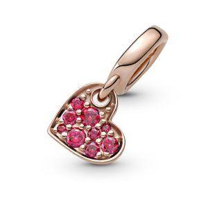 Charm Pandora colgante rose corazon con circonitas rojas 789404C02