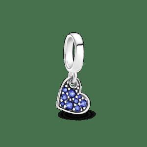 Charm Pandora estelar plata colgante corazon con circonitas azules 799404C01