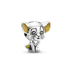 Charm plata Disney Simba bebé con esmalte negro y naranja Pandora 799398C01