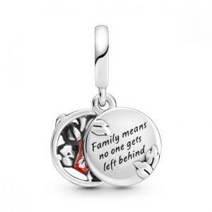 Charm plata colgante Disney lilo y stich, grabado familia significa que nadie se queda atrás Pandora 799383C01
