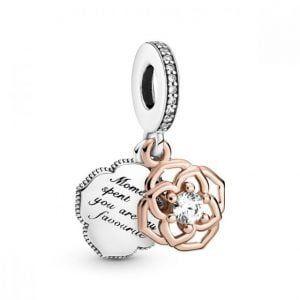 Charm plata colgante Rosa rose, y grabado los momentos que paso contigo son mis favoritos Pandora 789373C01