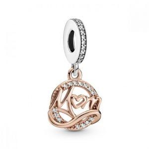 Charm plata colgante circonitas mama colgante en rose Pandora 789374C01