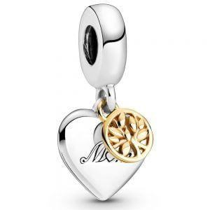 Charm plata colgante corazon con arbol de la vida en oro de 14k mama Tu eres el corazon de nuestra familia Pandora 799366C00