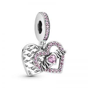 Charm plata colgante doble corazon, corazon con czs rosas mamá, y corazon con grabado Todo de mi ama todo de ti Pandora 799402C01