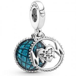 Charm plata colgante mama mundo, con esmalte azul grabadoeres el mundo para mi Pandora 799368C01