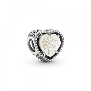 Charm plata corazon con arbol de la vida de nacar grabado familia por siempre y para siempre Pandora 799413C01
