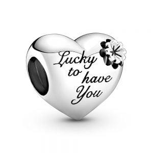 Charm plata corazon mama Afortunado de tenerte Pandora 799364C00