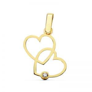 Colgante oro 18 Kilates corazones ENTRELAZADOS 1 circonita 12776