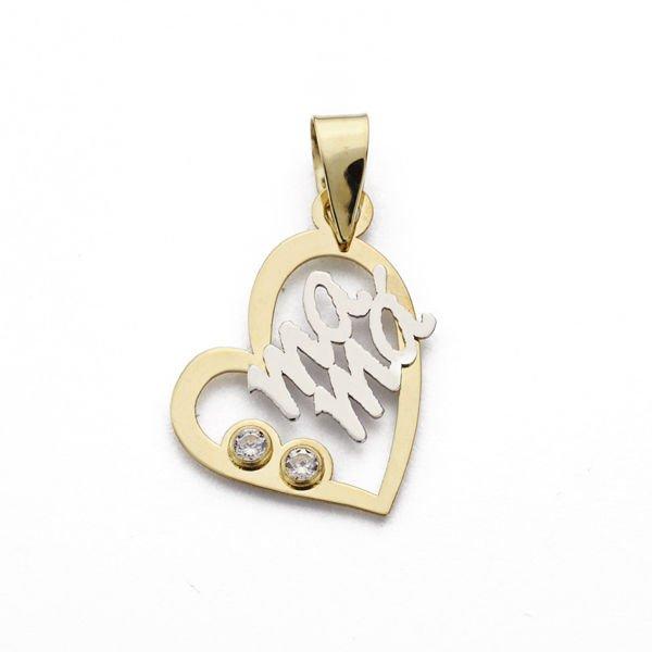 Colgante oro 18 Kilates mamá bicolor 17x13mm corazón 2 circonitas 16234