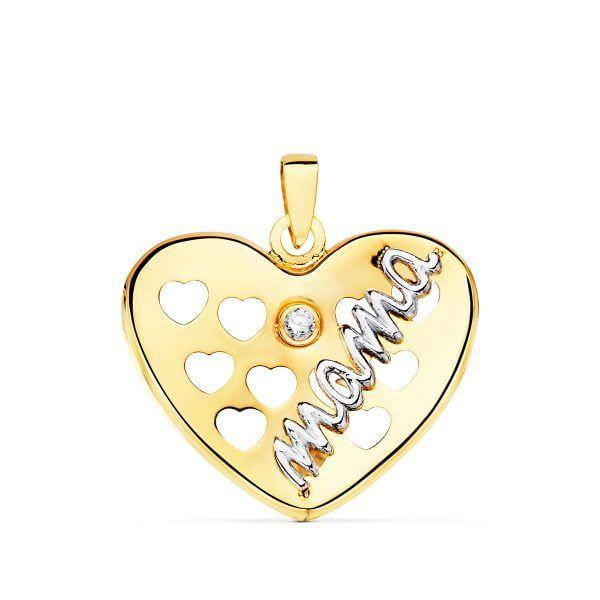 Colgante oro 18 Kilates mamá bicolor 17x19mm corazón corazones calados 1 circonita 22095