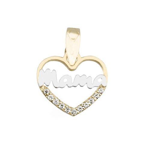 Colgante oro 18 Kilates mamá corazon parte de abajo con circonitas 81550