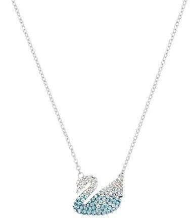 Collar cisne Swarovski swan cristales azules baño de rodio 5512094