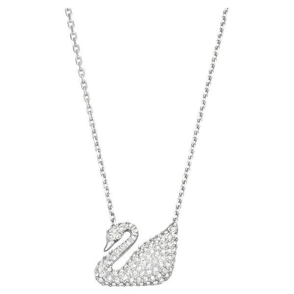 Collar cisne Swarovski swan cristales blancos baño de rodio 5007735