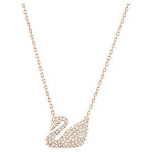Collar cisne Swarovski swan cristales blancos baño oro rosa 5121597