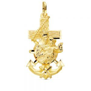 Cruz de 9 kilates MARINERA Virgen del CARMEN 38x23mm 9K-240132