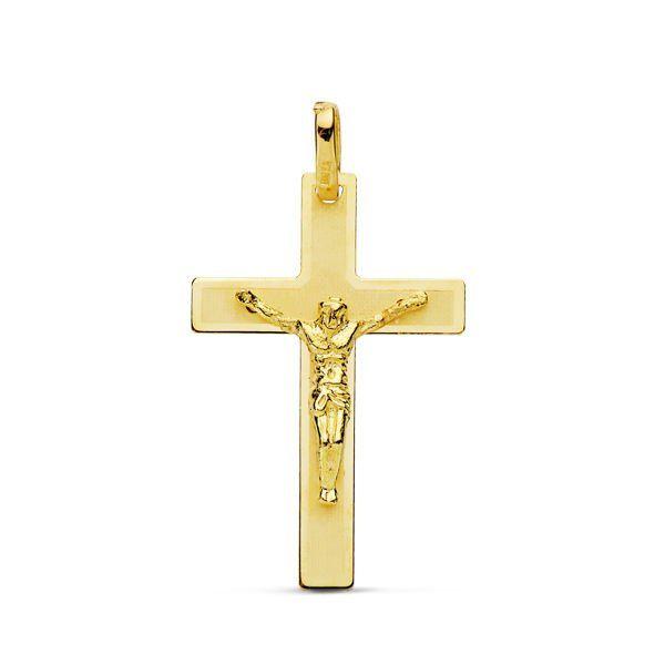 Cruz oro LASER PLANA con cristo 26x17mm 16752