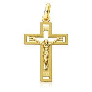 Cruz oro con CRISTO TALLADA 28x17mm 16597