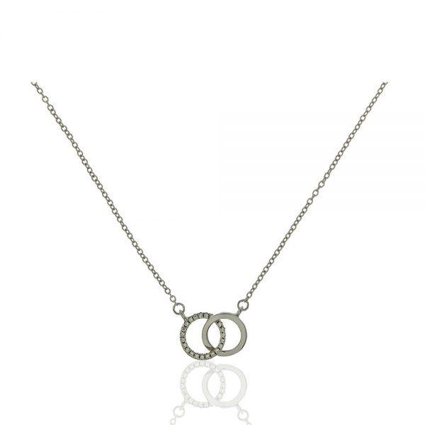 Gargantilla Plata doble circulo liso y con circonitas 45,5+3cms CGA0117
