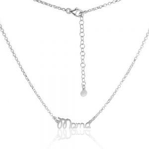 Gargantilla plata minúsculas cursiva rodiada M tipo muelle PGA0381-RD