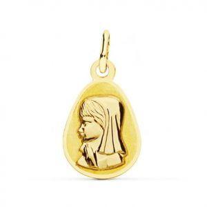 MEDALLA ORO Virgen NIÑA GOTA 17x10mm 16480