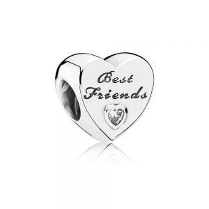 PANDORA CHARM PLATA CORAZ BEST FRIENDS 791727CZ