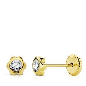 Pendientes oro 9 kilates chatón margarita 4mm 9K-T770-4