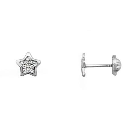 Pendientes oro 9 kilates estrella oro blanco 8mm MICROPIEDRAS CIERRE TUERCA 9K-201246511-B