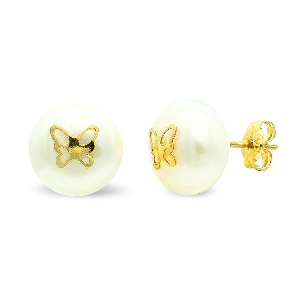 Pendientes oro 9 kilates perla 9mm con mariposa central cierre presión 9k-21160